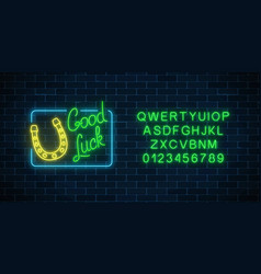 Glowing neon sign with good luck wish and vector