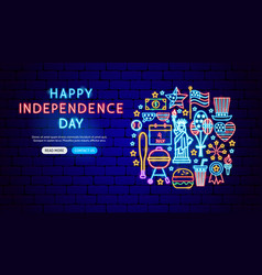 happy independence day neon banner design vector image
