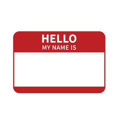 hello my name is introduction red label vector image