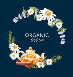 Herbal tea wreath design with anise rosemary vector