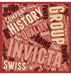 History of Invicta Watch text background wordcloud vector