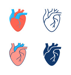 human heart icon set in flat and line style vector image