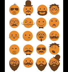 Icon set 20 mans faces orange vector