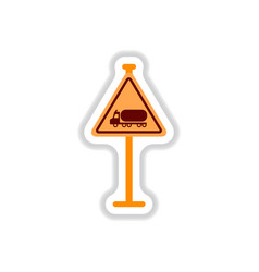 In paper sticker style warning vector