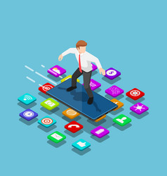 Isometric businessman use smartphone to surfing vector