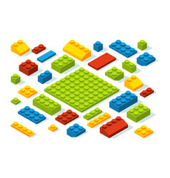isometric constructor blocks at different colors vector image