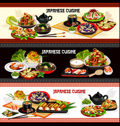 japanese seafood sushi noodles rice and fish vector image