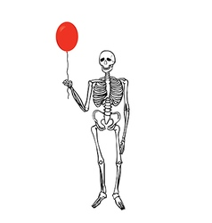 Joyful skeleton that keeps the balloon vector