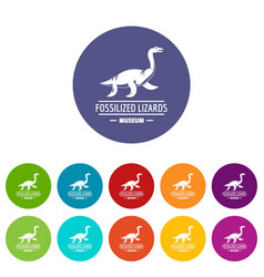 jurassic museum icons set color vector image