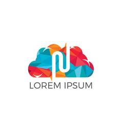 letter n cloud logo design vector image