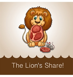 Lion eating his share of meat vector