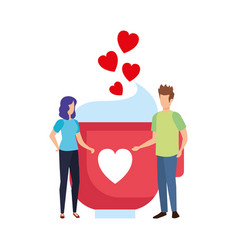 lovers couple with hearts floating and coffee cup vector image