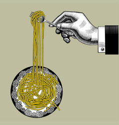 Male hand with a fork takes long spaghetti from a vector