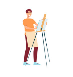 man in apron standing near easel and painting on vector image