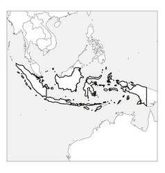 Map indonesia black thick outline highlighted vector