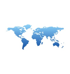 map world - blue silhouette isolated vector image