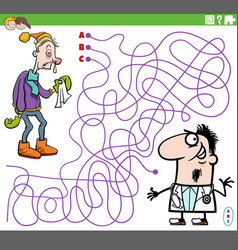 Maze game with cartoon doctor and sick guy vector