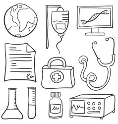 Medical object doodles vector