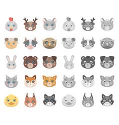 muzzles of animals cartoonmono icons in set vector image