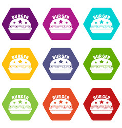national burger icons set 9 vector image