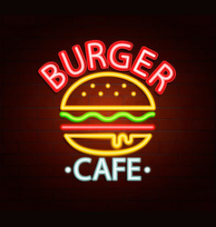 neon sign of burger cafe vector image