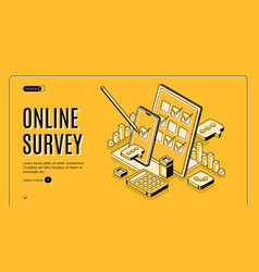 online survey isometric banner feedback service vector image