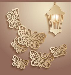 Paper graphics of lace butterflies vector