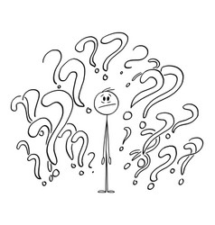 Person surrounded by question marks or symbols vector