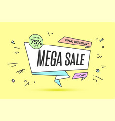 ribbon banner with text mega sale vector image