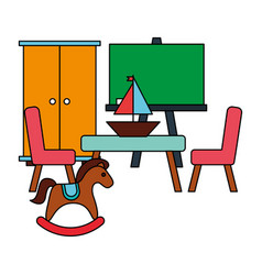 rocking horse table chair boat kid toys vector image