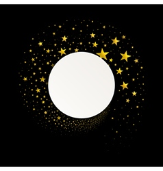 round banner with a stream gold stars vector image