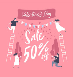 sale discount banner for valentines day vector image