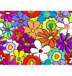 Seamless busy flower pattern 2 vector image