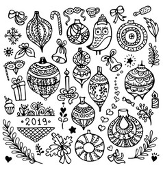 set cute hand-drawn christmas balls vector image