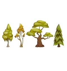 Set four trees pine birch oak aspen vector