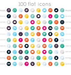 Set of 100 flat icons music icons education icons vector