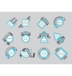 set of cyan seals with gray ribbons vector image
