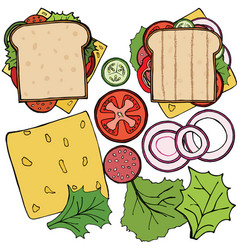 set of ingredients for burger and sandwich vector image