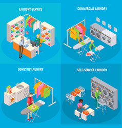 set of isometric laundry concepts vector image