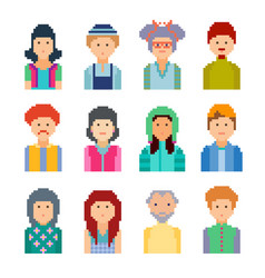 Set of pixel people avatar faces vector