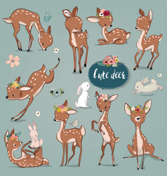 set with cute hares and deer vector image