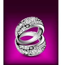Silver rings with some diamonds vector