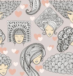Sketches of girls with different hairstyles vector image