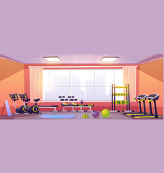 Sport and fitness equipment in gym vector