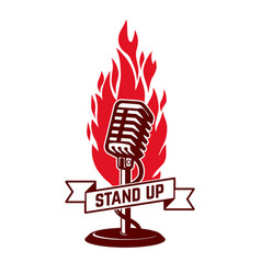 stand up show emblem template design element for vector image