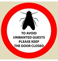 Sticker with Warning sign insect fly icon Fly vector image