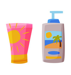 Summer sunscreen cream and lotion summer vacation vector
