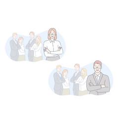 Team leader coworking set concept vector