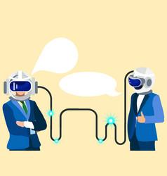 Technologies future two businessmen vector