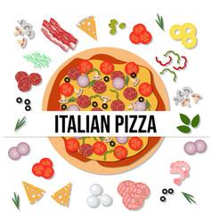 top view delicious italian pizza vector image